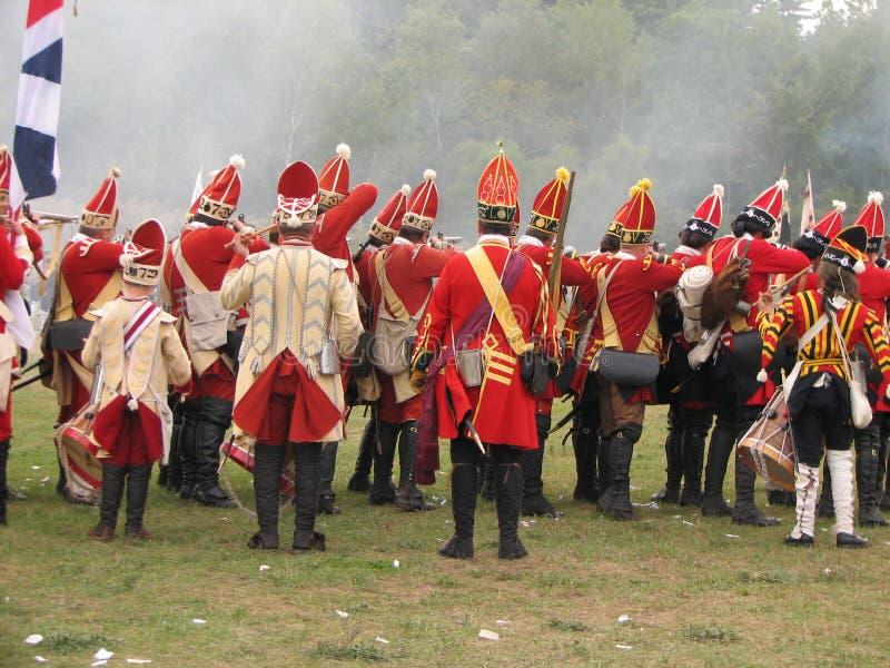 Britse Grenadiers in Slag royalty-vrije stock fotografie