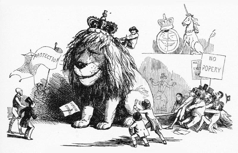 Britse Leeuw in moeilijkheden stock illustratie