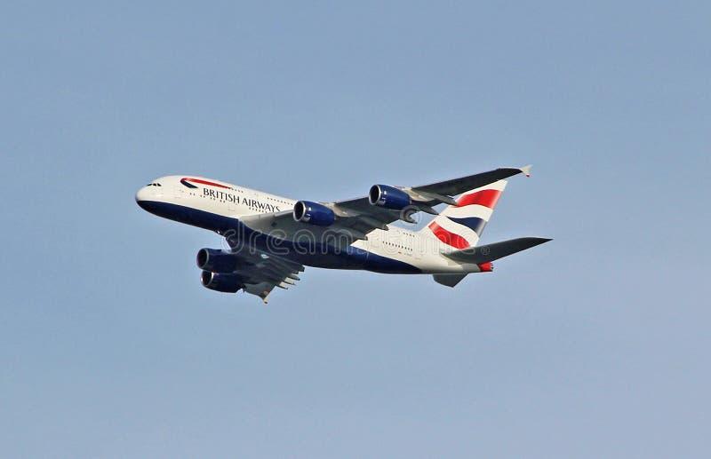 Britse luchtroutesa380 luchtbus stock afbeelding