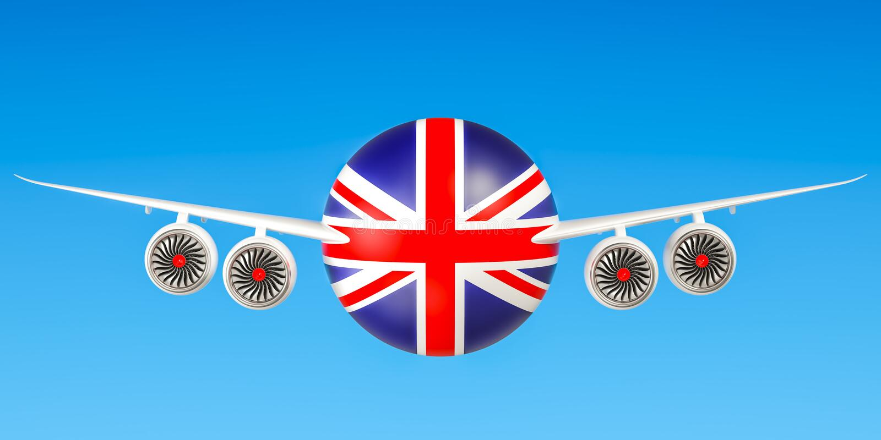 Britse luchtvaartlijnen en het vliegen ` s, vluchten aan het concept van het Verenigd Koninkrijk vector illustratie