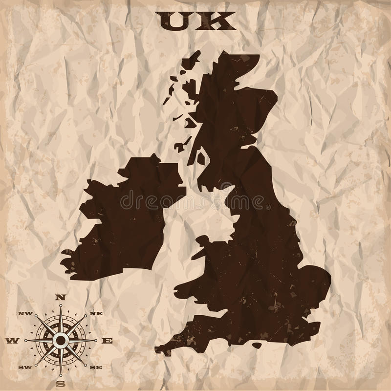 Britse oude kaart met grunge en verfrommeld document Vector illustratie vector illustratie
