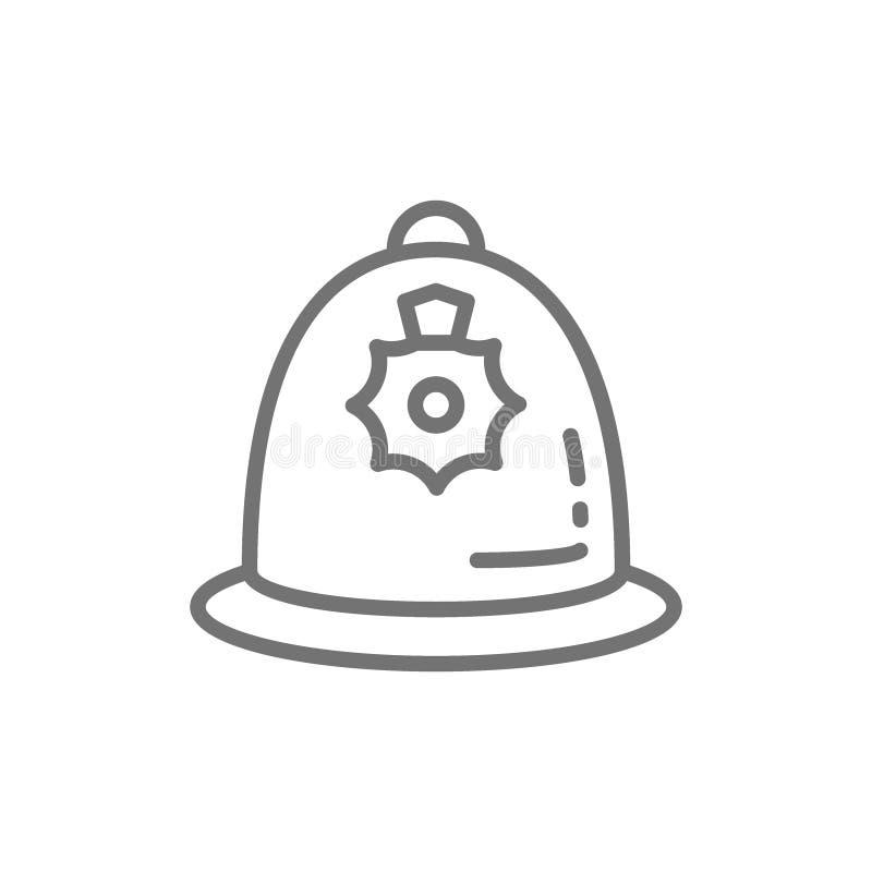 Britse politiehelm, het pictogram van de politieglb lijn royalty-vrije illustratie