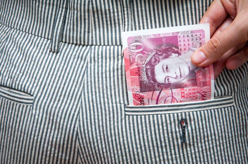 Britse ponden in de zak stock fotografie