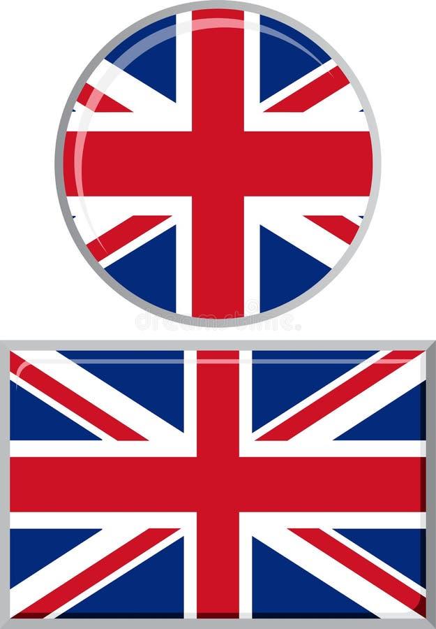 Britse ronde en vierkante pictogramvlag Vector royalty-vrije illustratie