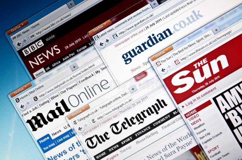 Britse `s- nieuwswebsites royalty-vrije stock foto