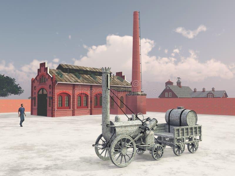 Britse stoomlocomotief van 1829 en treinbenzinestation royalty-vrije illustratie