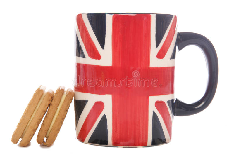Britse theemok en koekjes royalty-vrije stock afbeelding