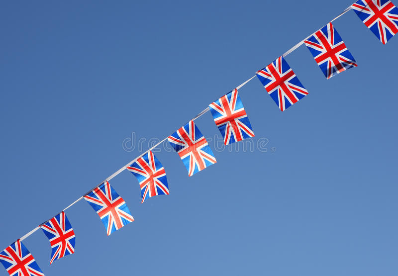 Britse Unie Jack Flag Bunting Row stock foto's