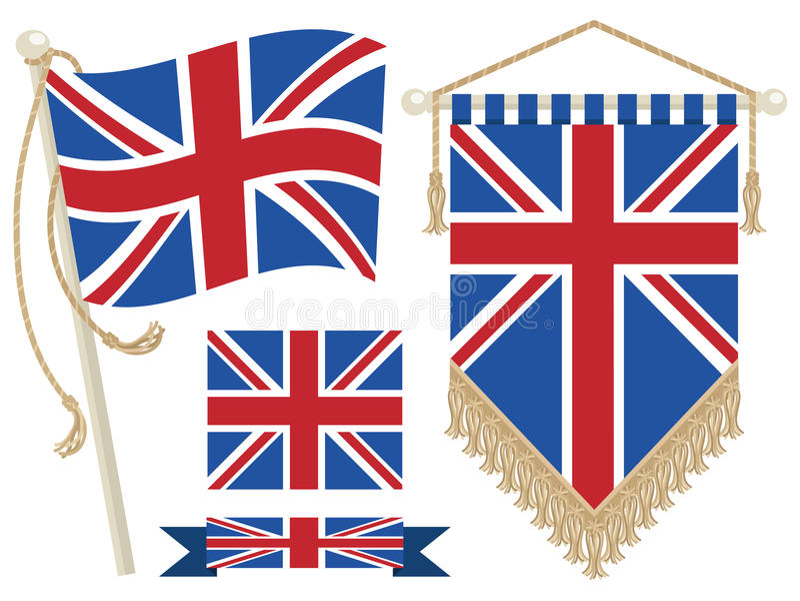 Britse vlag en wimpel stock illustratie