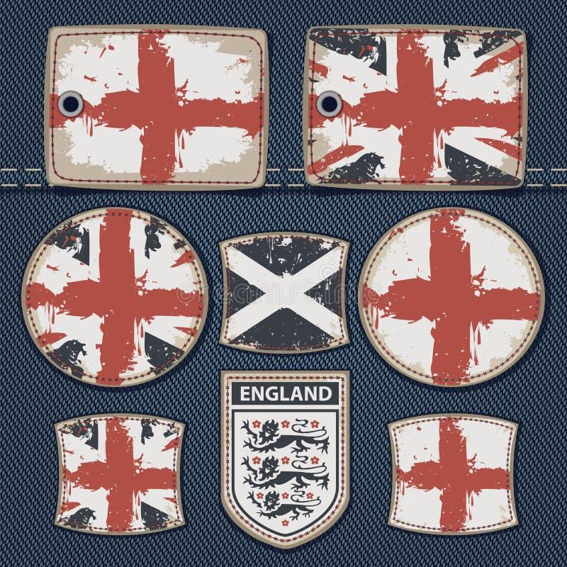 Britse vlag op etiket op jeans royalty-vrije illustratie
