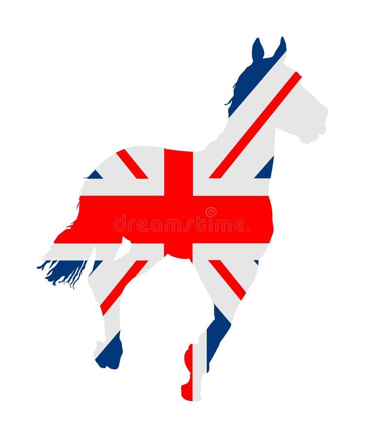Britse vlag over elegant het rennen paard in galop vectorillustratie die op wit wordt geïsoleerd Renbaan vermaak en het gokken royalty-vrije illustratie