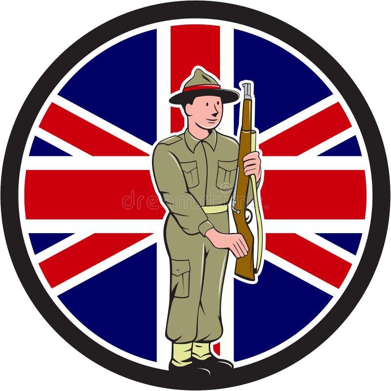 Britse Wereldoorlog IImilitair Union Jack Flag Cartoon royalty-vrije illustratie