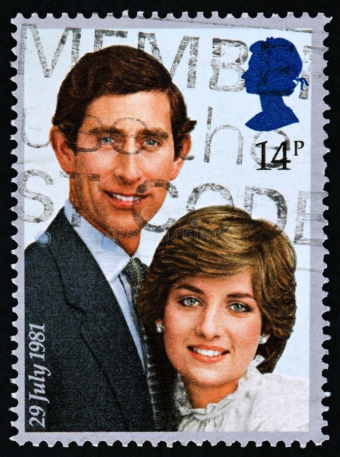 Britse zegel van Prins Charles en Dame Diana 1981 royalty-vrije stock afbeelding