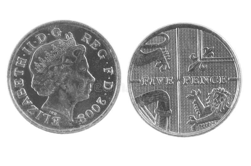 Britt fem encentmynt mynt royaltyfria foton