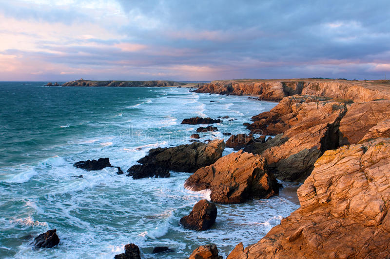 Download Brittany Dusk On The Coast Of Quiberon Seascape Stock Image - Image of danger, descriptive: 15963095