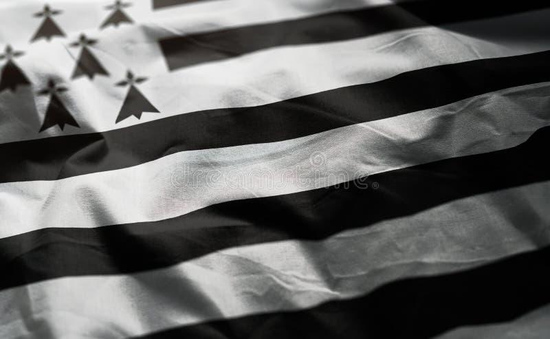 Brittany Flag Rumpled Close Up fotos de archivo