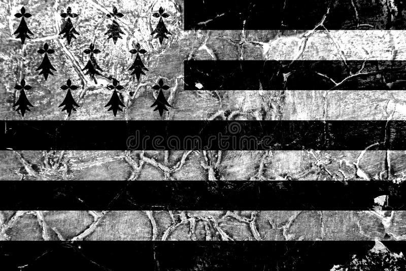 Brittany grungeflagga, beroende territoriumflagga arkivbild