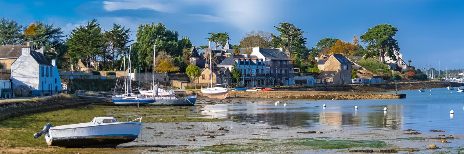 Brittany, Ile aux Moines island. Beautiful harbor, low tide stock photography