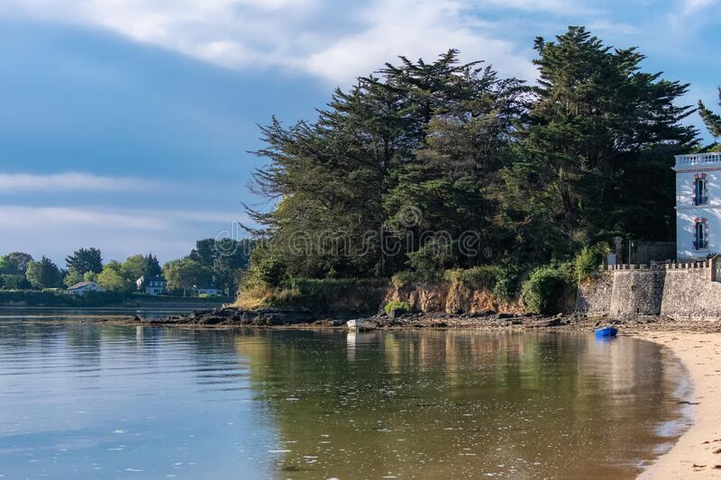 Brittany, Ile aux Moines island in the Morbihan. Gulf, the Port-Miquel beach stock photography