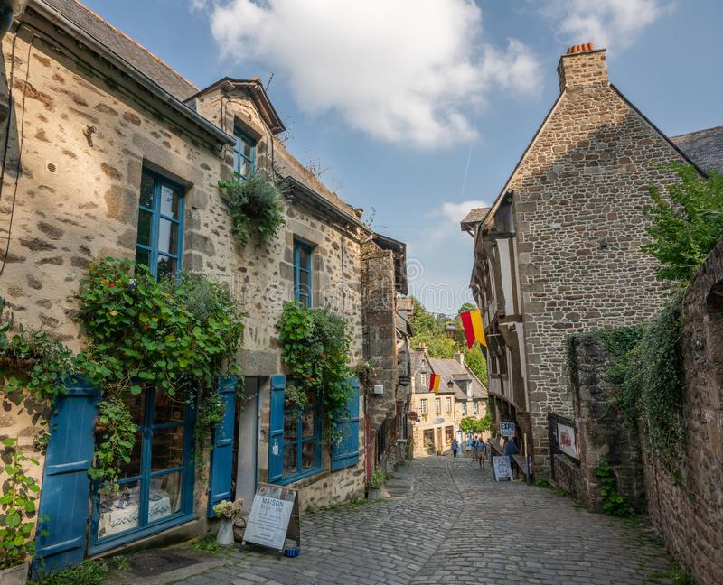 Stone buildings in the old town center of medieval Dinan France. royalty free stock image