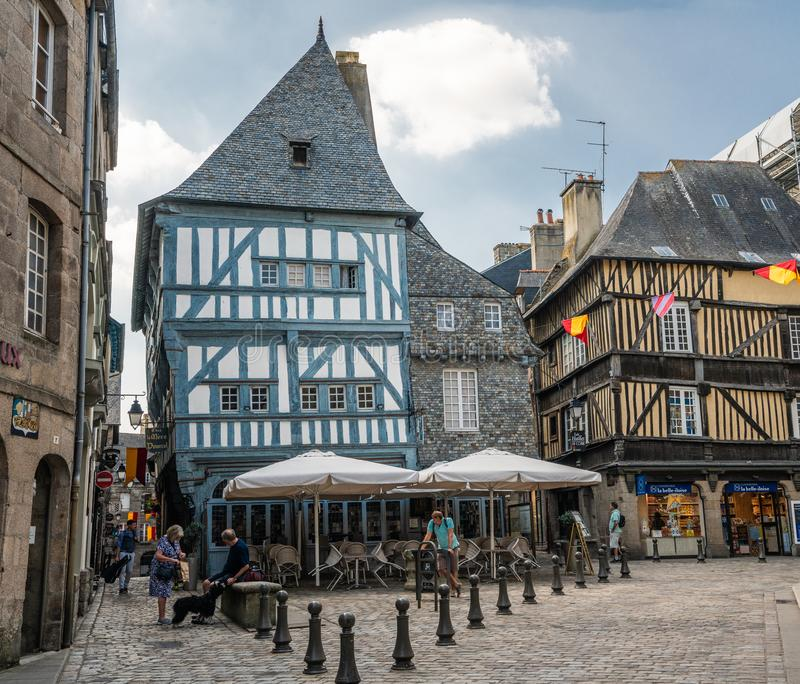 Sunny day in the old town center of medieval Dinan France. stock photography