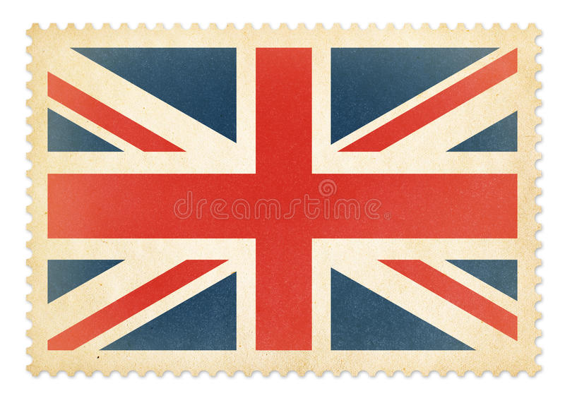 Brittish postage stamp with The Great Britain flag isolated stock image