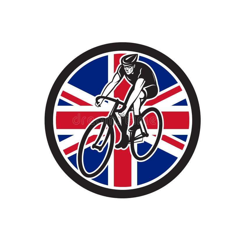 Brittisk cyklist som cyklar fackliga Jack Flag Icon vektor illustrationer