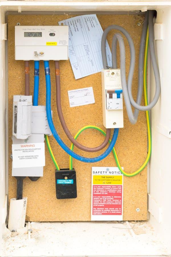 Brittisk elektrisk meter arkivbild
