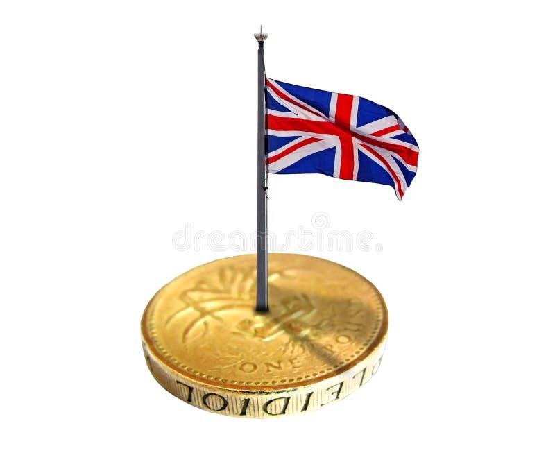 Brittisk flagga för guld- mynt fotografering för bildbyråer