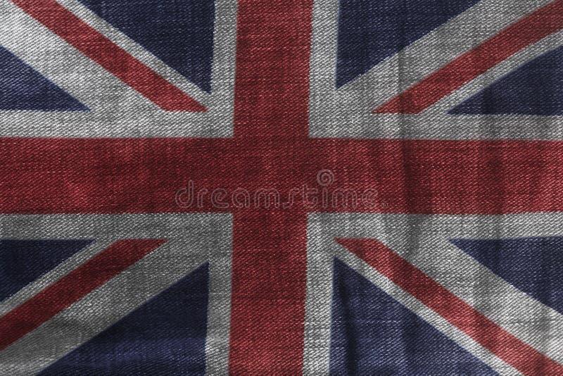 Brittisk flagga på jeansgrov bomullstvilltextur royaltyfri illustrationer