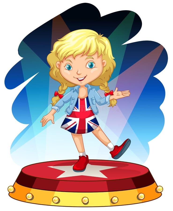Brittisk flicka på etapp stock illustrationer
