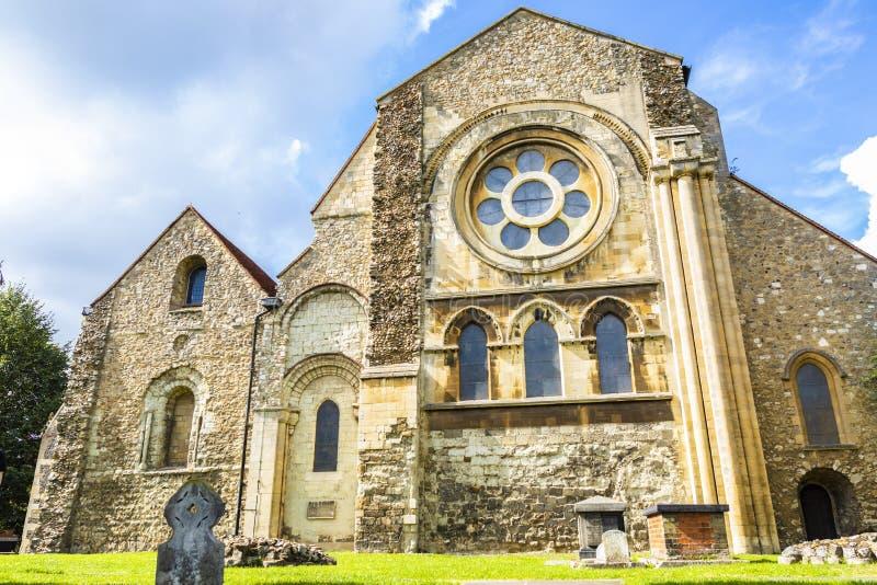 Brittisk gränsmärkekyrka av Waltham Abbey Town arkivfoto