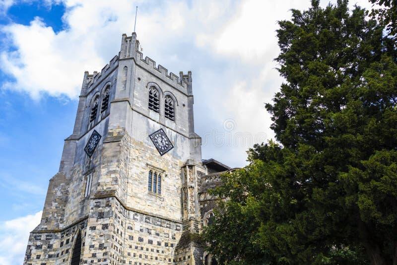 Brittisk gränsmärkekyrka av Waltham Abbey Town arkivbild