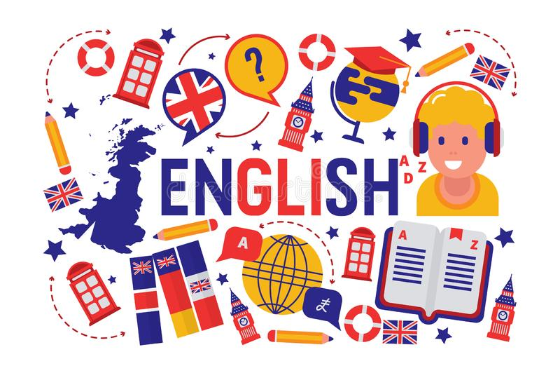 Brittisk illustration för vektor för grupp för lära för engelskt språk Brittisk flaggalogo, England, ordbok, Big Ben, flickor royaltyfri illustrationer