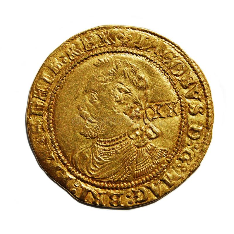 brittisk isolerad gammal white för myntguld royaltyfri bild