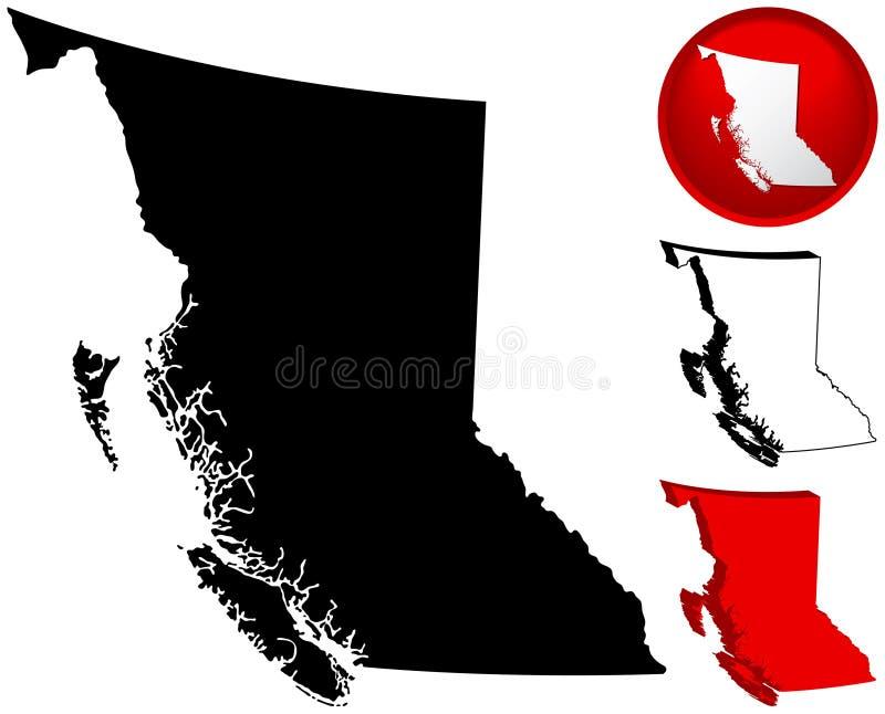 brittisk Kanada columbia översikt vektor illustrationer