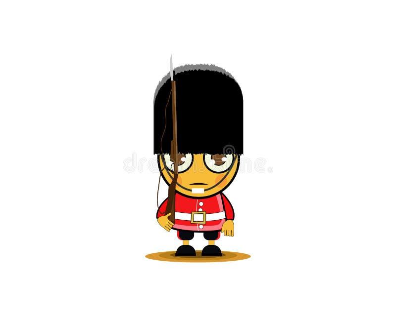 Brittisk kunglig soldat för tecknad film med vapnet ocks? vektor f?r coreldrawillustration stock illustrationer