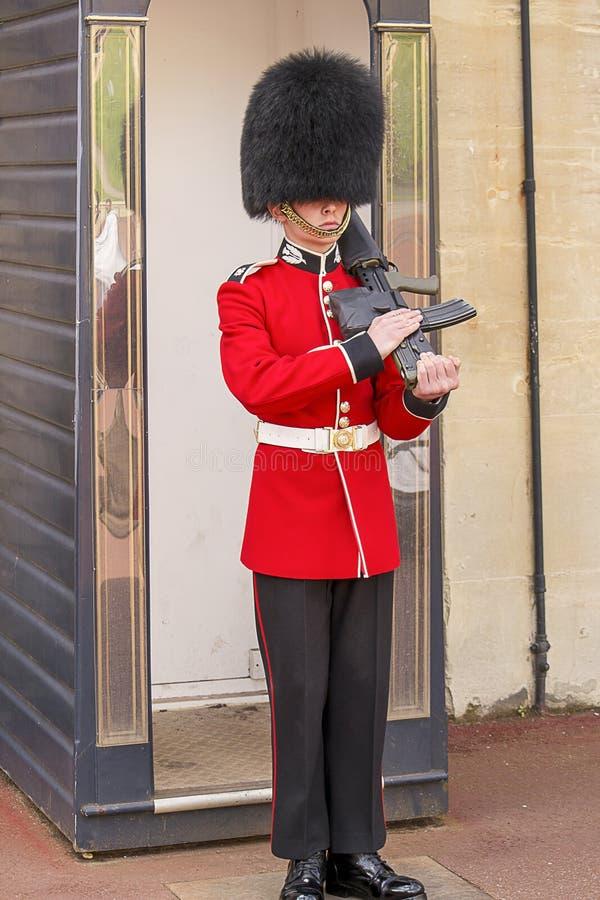 Brittisk kunglig vakt med ett vapen royaltyfria foton