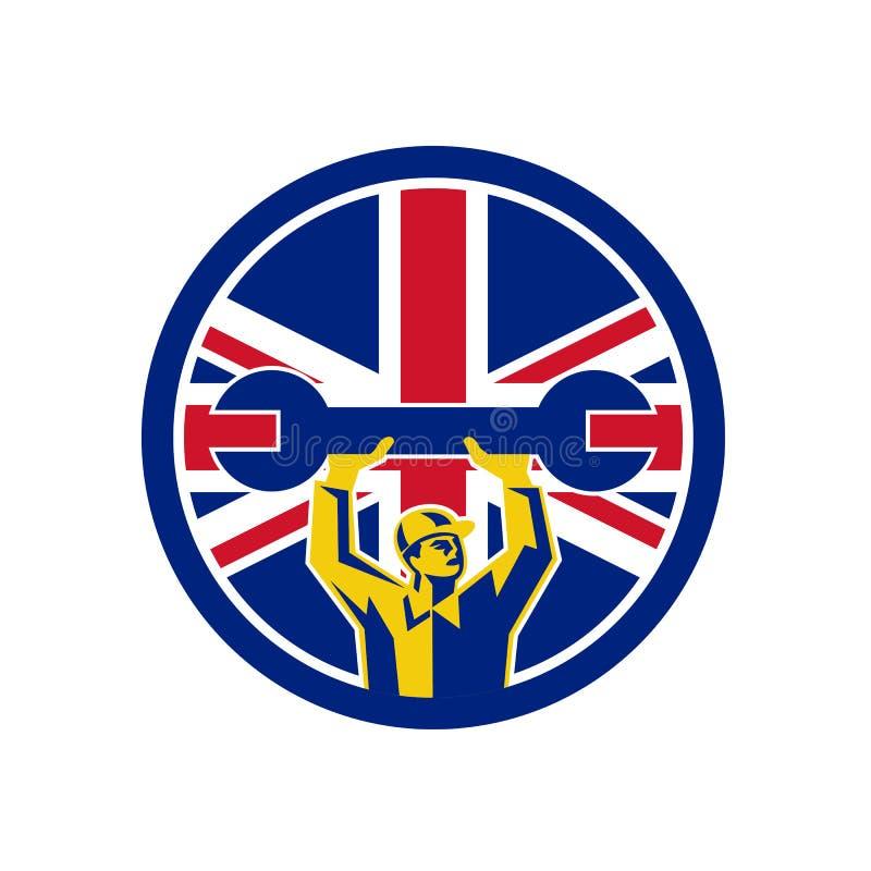 Brittisk mekaniker Union Jack Flag Icon stock illustrationer