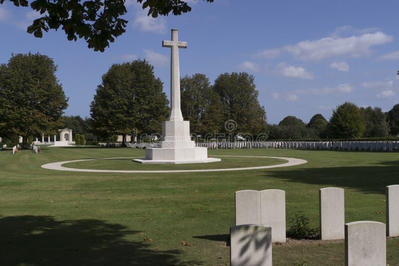 Brittisk militär kyrkogård, Bayeux Normandie france arkivbild
