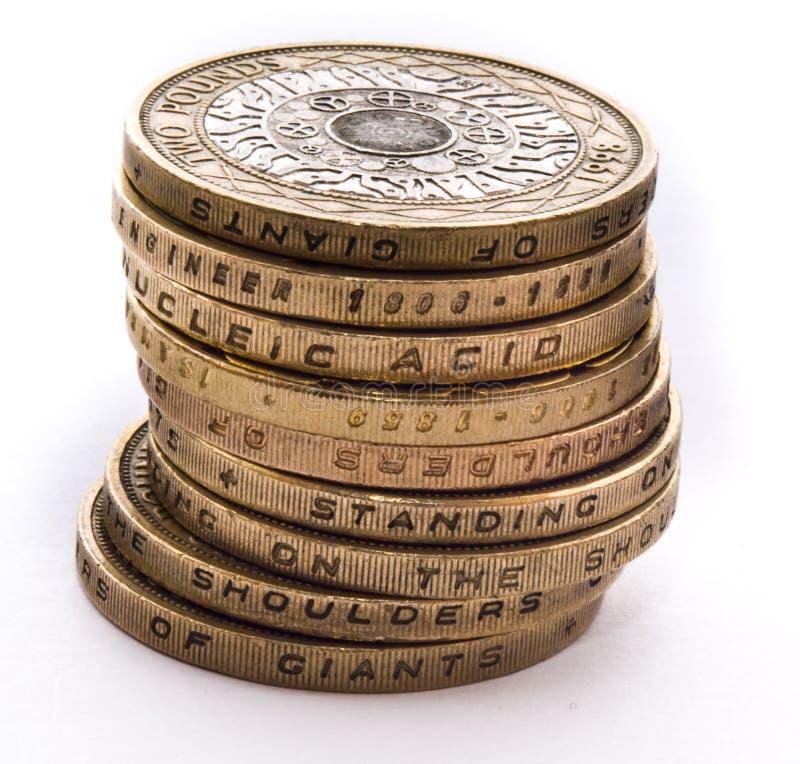 brittisk myntstapel fotografering för bildbyråer