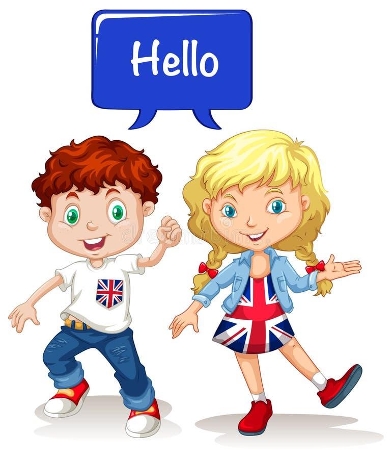 Brittisk pojke och flicka som säger hälsningar royaltyfri illustrationer