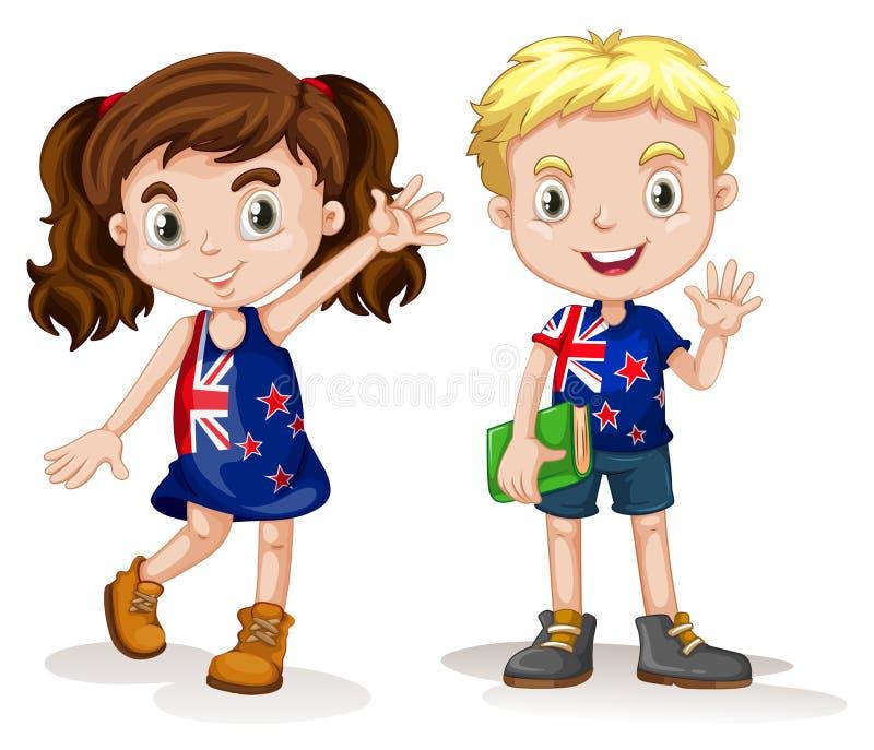 Brittisk pojke- och flickahälsning vektor illustrationer