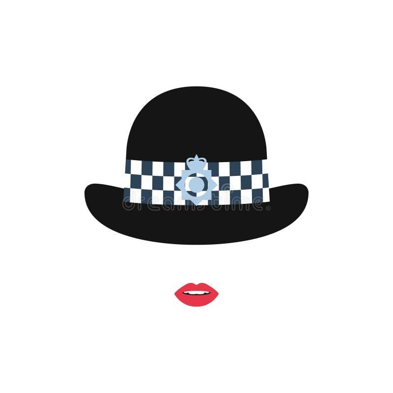 Brittisk polisflicka i en hatt Polisavatar stock illustrationer