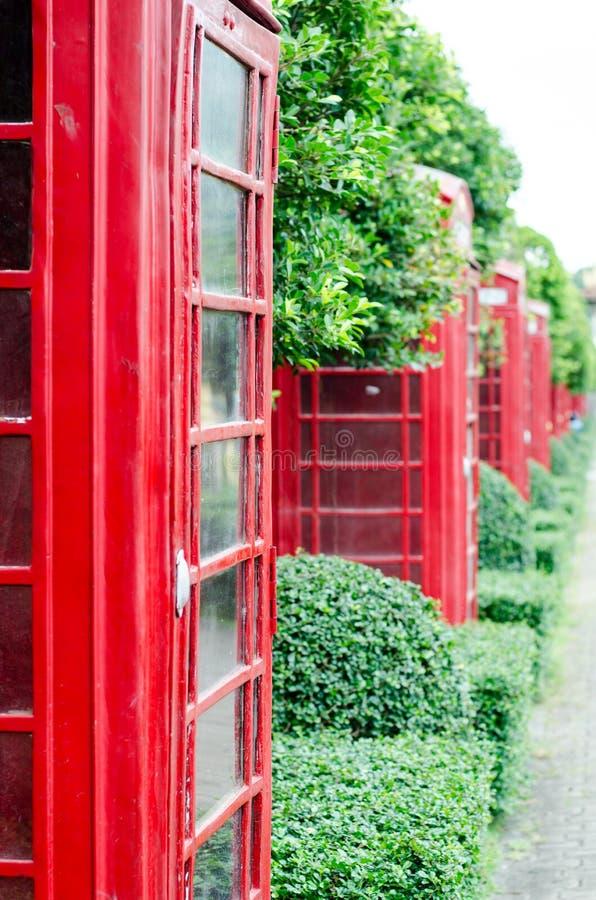 Brittisk röd telefonask med gammalmodigt med grön trädbac fotografering för bildbyråer