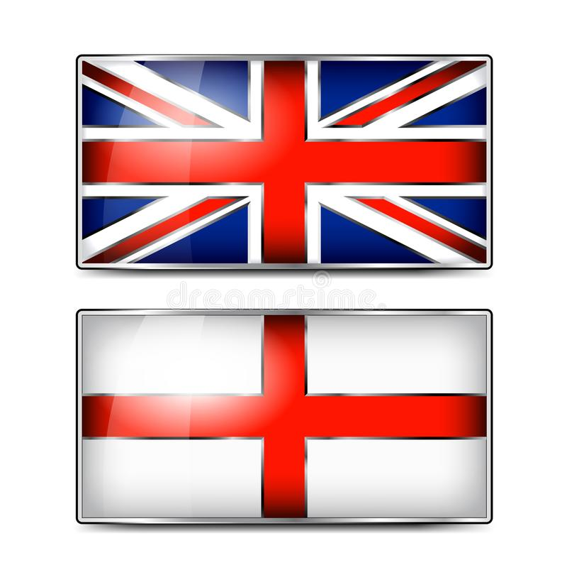 Brittisk Union Jack och England emaljflagga royaltyfri illustrationer