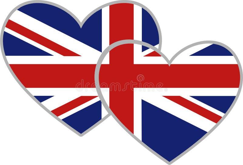 brittiska hjärtor stock illustrationer