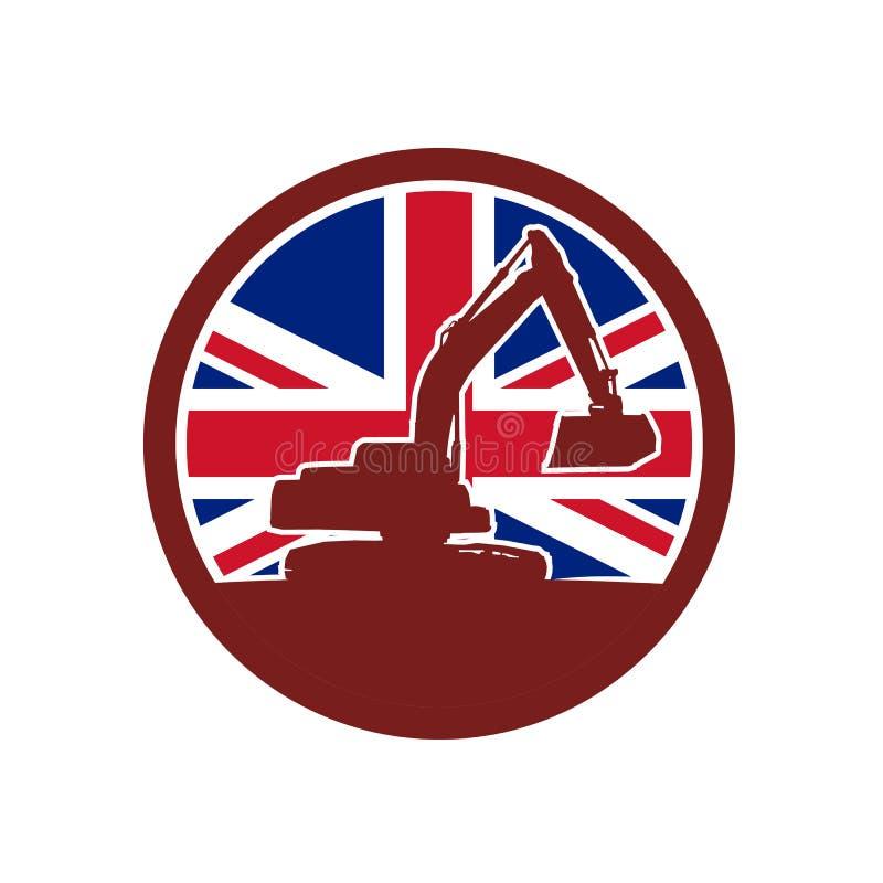Brittiska mekaniska Digger Union Jack Flag Icon vektor illustrationer