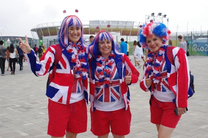 Brittiska olympiska lagsupportrar arkivbild