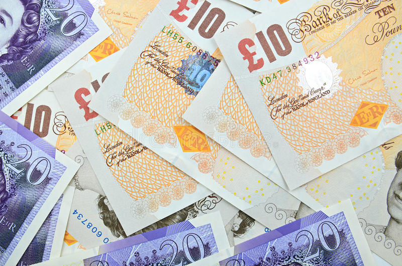 Brittiska pund sedlar royaltyfri foto